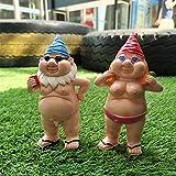 2Stücke Gartenzwerge Pinkelnder Gnom frecher Zwerg, Lustiges nackt Gartenzubehör für Rasenschmuck, Innen- oder Außendekorationen