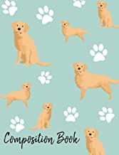 Composition Book: Golden Retriever Paw Prints Cute School Notebook 100 Pages Wide Ruled Paper (Dog Breed Composition Books)