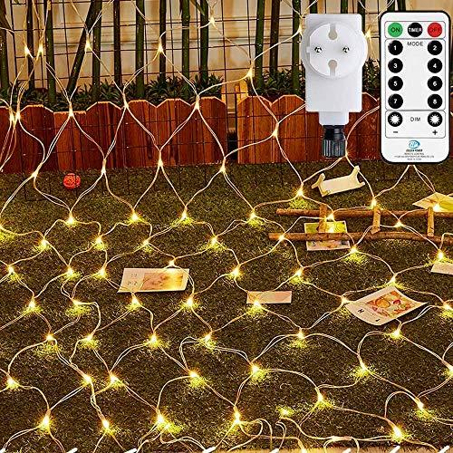 LED Lichternetz 3x2m Ollny 200 LED Lichternetz Warmweiß Lichterkette Netz mit Fernbedienung & Timer, 4 Helligkeitsstufe 8 Modi Lichterkettennetz für Zimmer Weihnachten Partydekoration, Geeignet