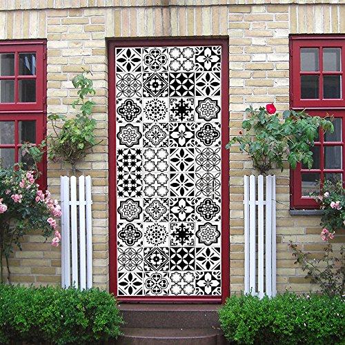 Deurbehang zelfklevend 3D 77X200cm vinyl witte en zwarte tegels deurbehang deurposter behang kunst muurschildering voor woonkamer slaapkamer wooncultuur PVC afneembaar waterdicht 95x215cm