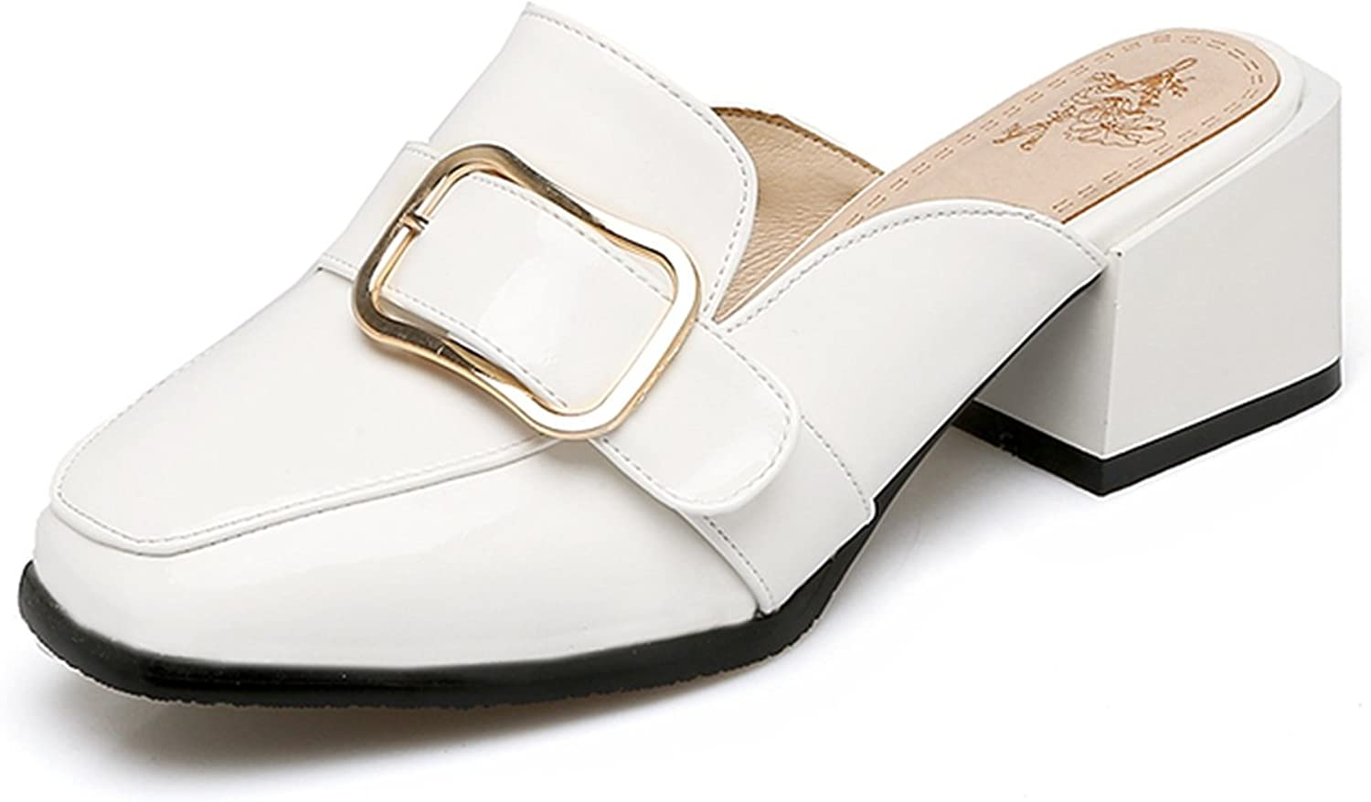 Nerefy Big Size 34-47 Square Toe Women Mules Pumps Fashion Square Med Heels Slip On Leisure shoes