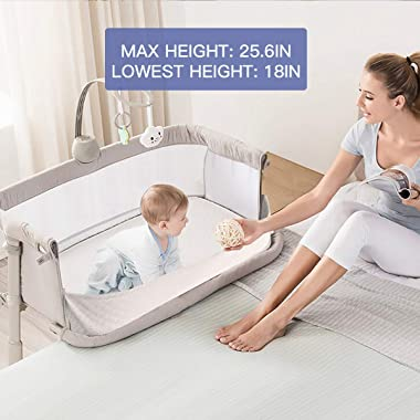 Baby Bassinet,RONBEI Bedside Sleeper Baby Bed Cribs,Baby Bed to Bed, Newborn Baby Crib,Adjustable Portable Bed for Infant/Bab