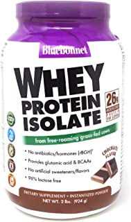 Bluebonnet Nutrition Whey Protein Isolate Powder, Whey From Grass Fed Cows, 26g of Protein, No Sugar Added, Non GMO, Gluten Free, Soy free, kosher Dairy, 2 Lbs, 28 Servings, Chocolate Flavor