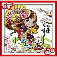 初心者のためのクロスステッチ刺繡キット11CTト クラシカルなスタイル印刷クロスステッチ刺繍セットDIY大人のシンプルな手作り家の装飾( 傘の女の子 )