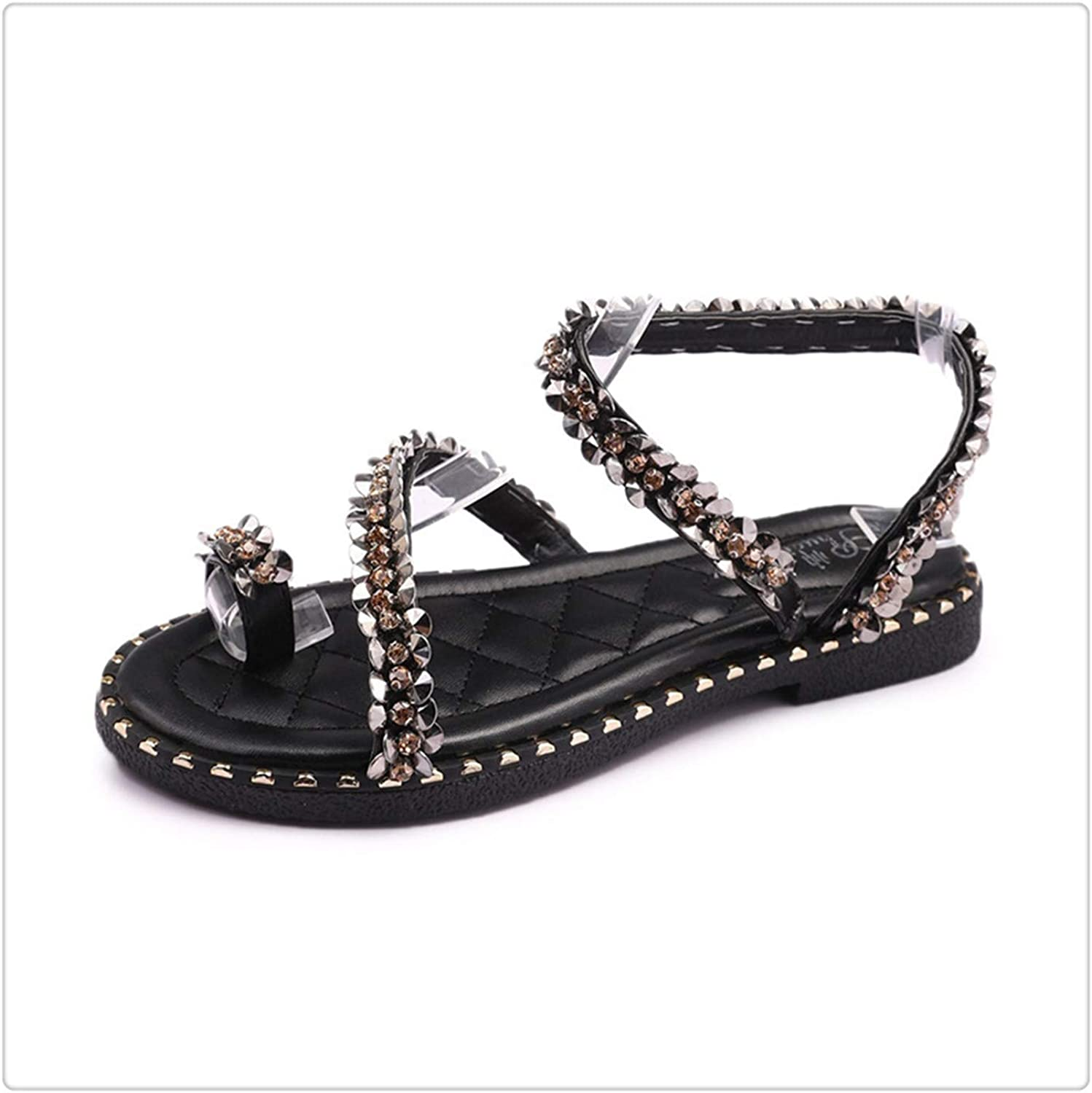 DOUSTY& Summer Slip-On Gladiator Sandals Women Front Rear Strap Rome Flat Crystal shoes