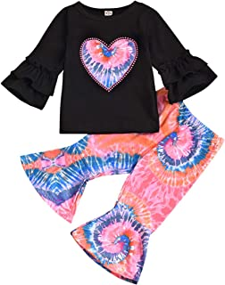 Verve Jelly Toddler Baby Girls Tie Dye Outfits Heart Print Ruffle Long Sleeve Shirt Flared Pants