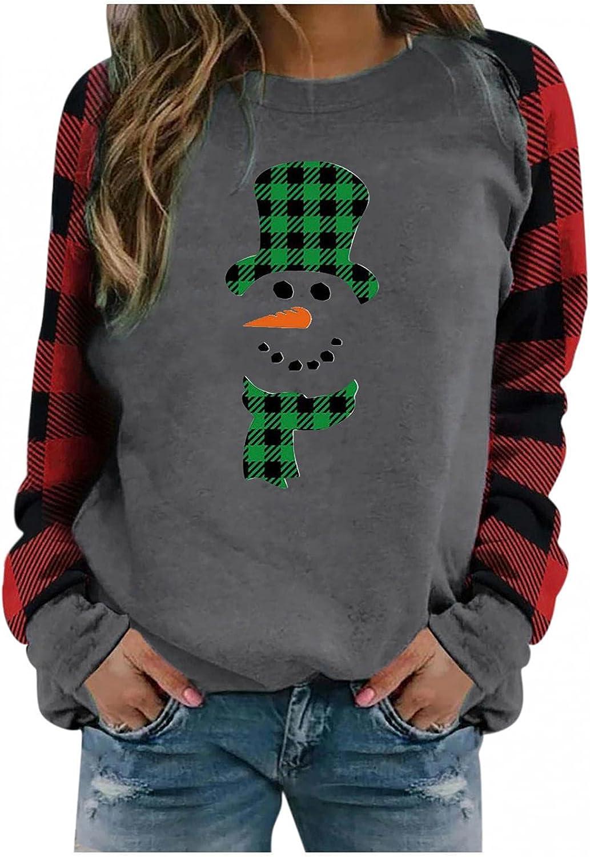 Jaqqra Christmas Sweatshirt for Women Casual Gnomes Printed Plaid Crewneck Sweatshirt Loose Long Sleeve Pullover Tops