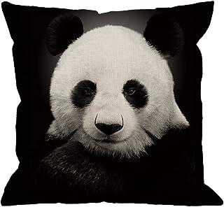 HGOD DESIGNS Animal Pillow Case,Cute Black and White Panda Cotton Linen Cushion Cover..