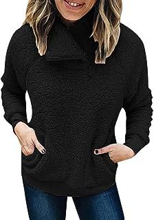 2019 Women Sweatshirts Zip Up Fashion Patchwork Turtleneck Winter Top Long Sleeve Fluffy Fleece Outwear Oversized Coat