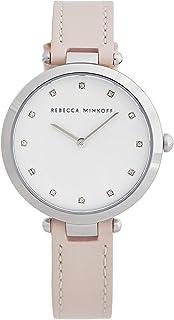 ساعة ريبيكا مينكوف للنساء نينا ستانلس ستيل كوارتز مع حزام جلد العجل ، لون أحمر (2200398)