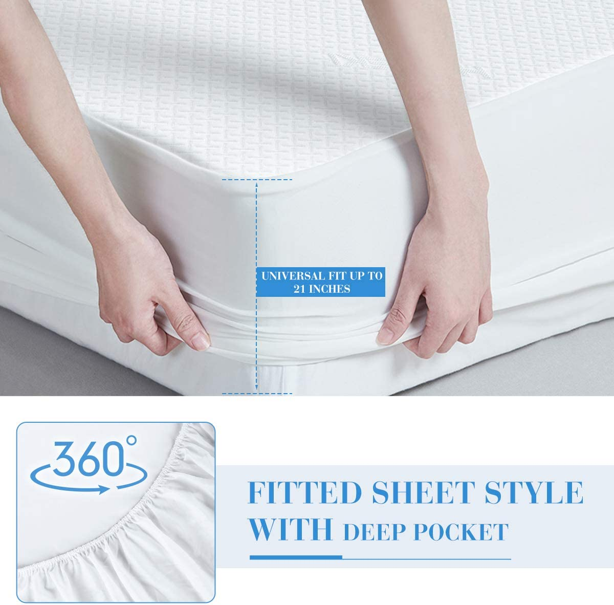 with 3D Air Bamboo Polyester Fabric Vinyl Free Hypoallergenic /& Ultra Soft Breathable Bed Mattress Pad Protector Cover HOKEKI Premium Waterproof Mattress Protector Twin XL