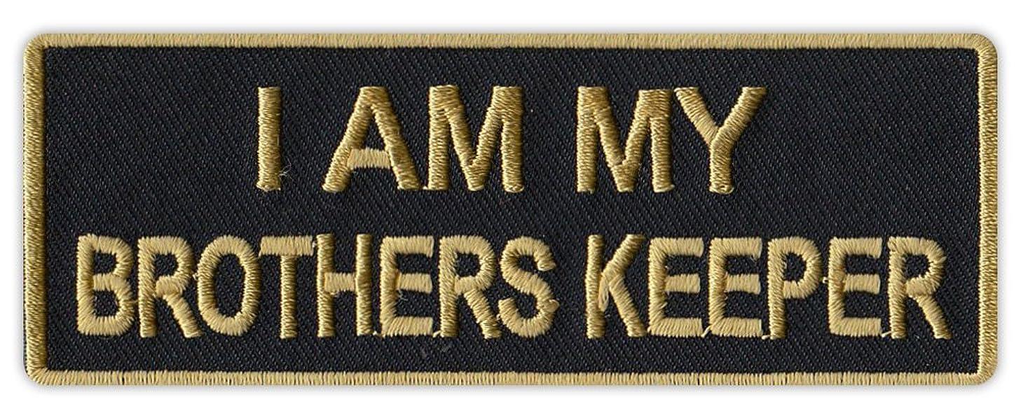 Motorcycle Biker Jacket/Vest Embroidered Patch - I Am My Brother's Keeper (Black/Gold Design)