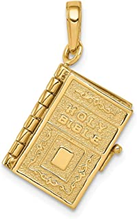 14k Yellow Gold Lords Prayer Bible Pendant Charm Necklace Religious Fine Jewelry Gifts For Women For Her