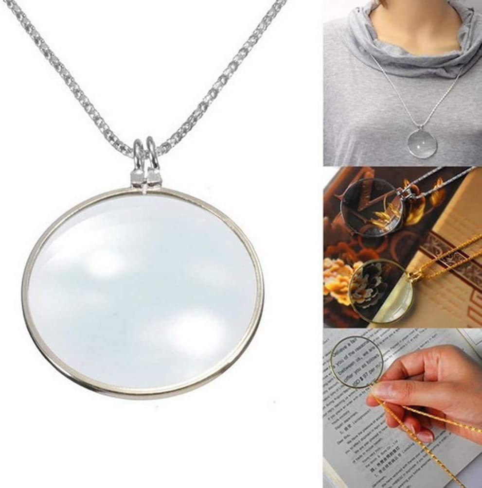 Necklace Magnifying Glass Reading Glasses Pendant Jewelry Optical Magnifier with Chain Necklace Neckglasses Portable Monocle for Reading Collecting Library