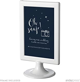 Andaz Press Love You to The Moon and Back Wedding Collection Personalized, Framed Party Signs, During Our Wedding, Please Use # Hashtag, 4x6-inch, 1-Pack, Includes Frame, Custom Made Any Name