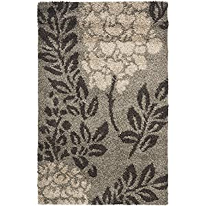 Safavieh Florida Shag Collection SG456 Floral 1.2-inch Thick Area Rug, 4′ x 6′, Smoke / Dark Brown