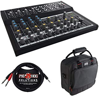 Mackie Mix12FX 12-Channel Compact Mixer with G-MIXERBAG-1212 Padded Nylon Mixer Bag & PB-S3410 3.5 mm Stereo Breakout Cabl...