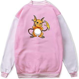 VJJ AIDEAR Raichu Pokemon Baseball Uniform Jacket Sport Coat Girl Long Sleeve Hoodie Sportswear Black