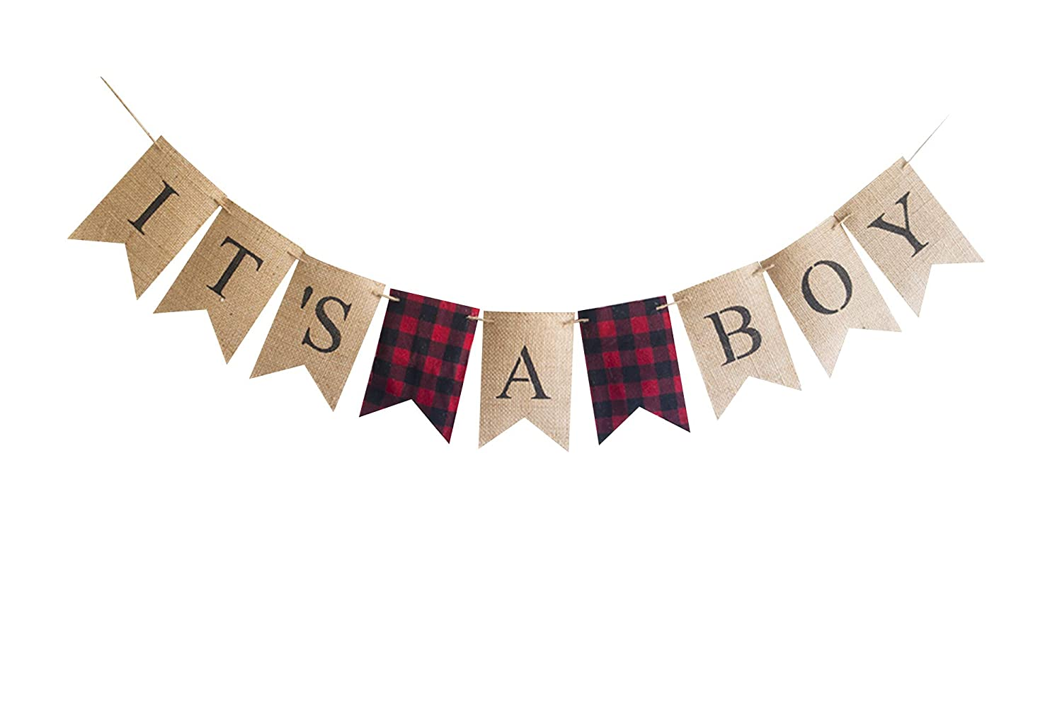 Lumberjack All stores are sold Red Plaid It's A Boy for Gender Baby Banner Shower NEW before selling or