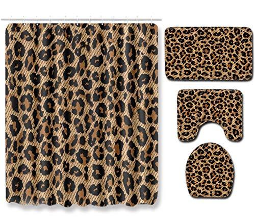JZZCIDGa Leopard Bath Decor 4-Teilige Badteppiche Set Sockelteppichdeckel Toilettendeckel Badematte Wasserdichter Duschvorhang
