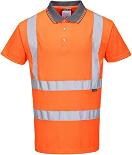 Portwest Hi-Vis S/S Polo Shirt RIS Viz Visibility Reflective Safety Work Wear Top ANSI 2