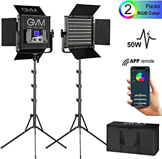 GVM 50RS RGB Video Lighting Kits with APP Control, 2 Pack CRI 97+ Dimmable Bi-Color/Full Color Output LED Photography Lights Panel with Barn-Door, Lighting for YouTube Studio Video Camera, 3200K-5600K