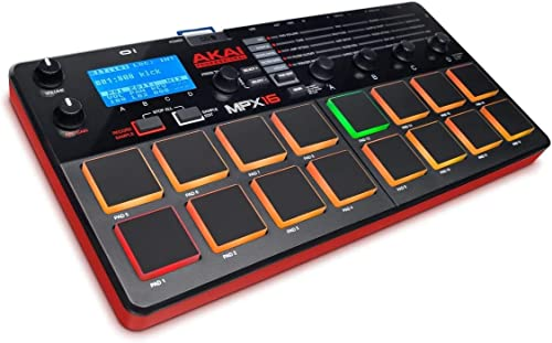 AKAI Professional MPX16 - Contrôleur MIDI USB & Sampler avec 16 Pads Sensible à La Vélocité, Port de Carte SD, MIDI I...