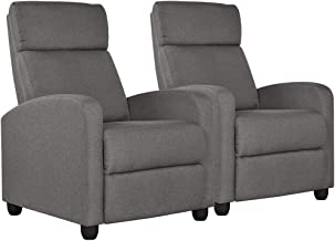 Yaheetech 2-Seat Home Theater Seating Pushback Recliner Chair with Thick Seat Cushion and Backrest for Living Room