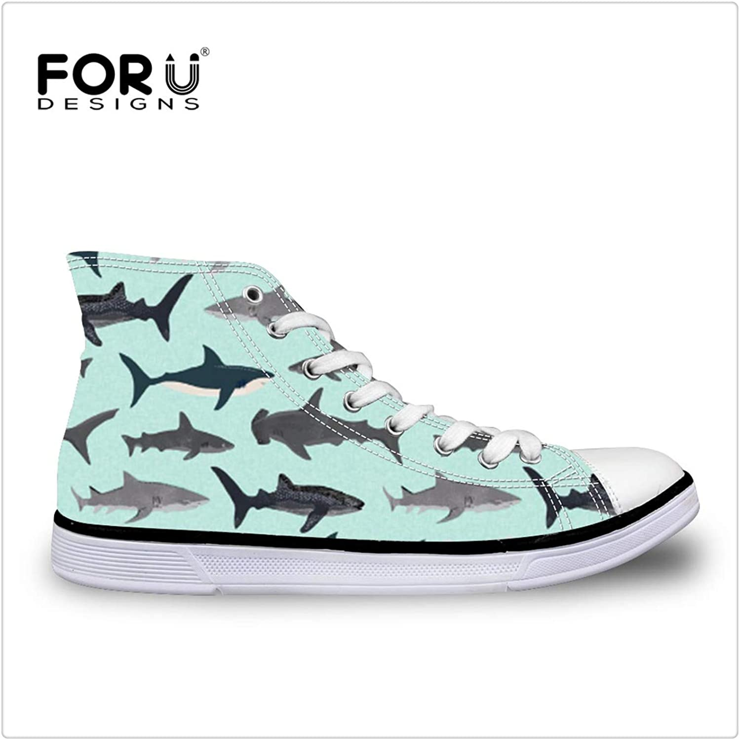 DOUSTY& 2018 Summer Women Vulcanized shoes Cute Shark Printed Canvas shoes High Top Students Walking Lace-Up Casual shoes ZJZ216AK 11