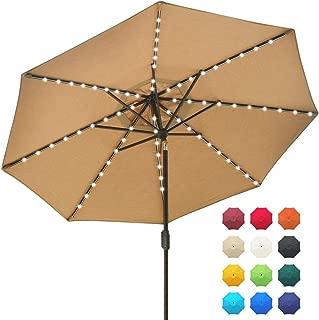 EliteShade Solar Umbrellas Sunbrella 9ft Market Umbrella with 80 LED Lights Patio Umbrellas Outdoor Table Umbrella with Ventilation and 5 Years Non-Fading Guarantee,Heather Beige