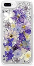 Casetify Real Flower iPhone 8+/7+ Case Pressed Dried Flowers with Silver Foil Flake in Hard Back Cover and Frost Shockproof Drop Proof Bumper and Wireless Charging Compatibility for Apple iPhone 7+/8+