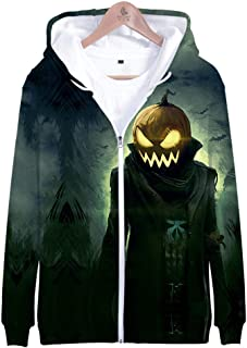 Men's Fashion TOP Halloween 3D Print Long Sleeve Zipper Hooded Sweater Jacket