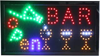 CHENXI New Animated BAR/Beer/Wine/Liquor NEON LED Store Open Sign 19 X 10 Inch (48 X 25 cm) ON Off Switch + Hanging Chain Lots of Styles BAR Beer Pub (48 X 25 cm, Bar)