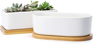 Greenaholics Rectangle White Succulents Planter - 6 Inch Rectangular Ceramic Flower Plant Pots Indoor Container with Bambo...