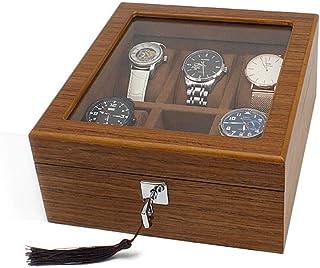 Lwieui Caja de Reloj Relojes Display con Cerradura Caja de Almacenamiento con Tapa de Vidrio 6 Ranuras Color Marrón for Ho...