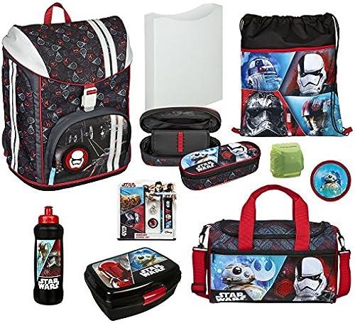 Familando Jungen Schulrucksack-Set 14tlg. mit Sporttasche und Regenschutz; Scooli Flexmax Star Wars Schulranzen-Set