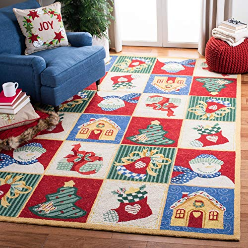 Safavieh Chelsea Collection HK274A Hand-Hooked Christmas Novelty Wool Area Rug, 6' x 9', White / Multi