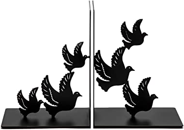 SONGXIN Bookends Decorative for Shelves, Bird Book Ends Dove Style Black Metal Bookends Desk Organizer for Office Heavy Duty Stylish Bookends Black
