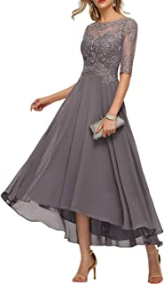 Women's Scoop Neck Asymmetrical Chiffon Evening Dresses 1/2 Sleeves Mother of The Bride Plus Size