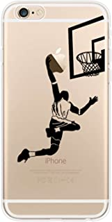 YHong iPhone 6S Plus Basketball Case,iPhone 6 Plus Silicone Case with Basketball Player Dunk Shot,Personality Printed Design Transparent Flexible TPU Protective Pattern Phone Back Cover(5.5 Inch)