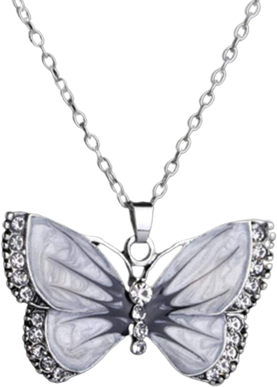 Retro Memphis Mall Rhinestone Inlaid Butterfly Store Jewelry Pendant Chain Necklace