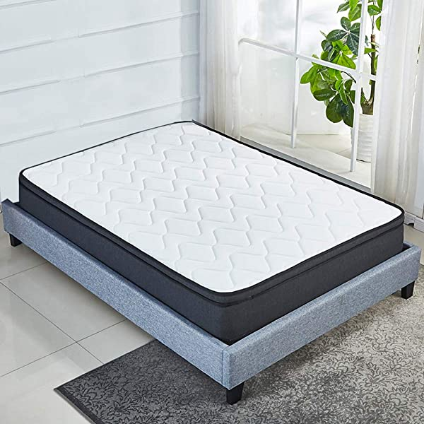Euro Top Soft 10 Inch Memory Foam Mattress Pocket Spring Coils Firm But Comfortable Cotton Knitted Cover CertiPUR US Certificated Twin
