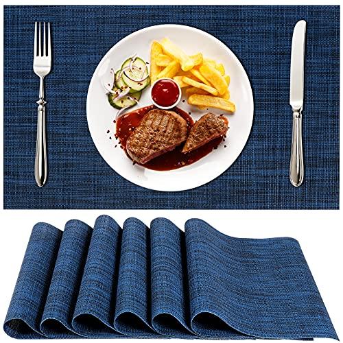 Platzsets 6er Set, 30x45cm Tischsets Abwaschbar Hitzebeständig Rutschfestes PVC Platzdeckchen für Küche Hause Restaurant und Hotel(Blau)