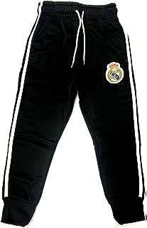 Real Madrid Joggers Black White Sweatpants Fleece Pants Youth Boys + Sticker