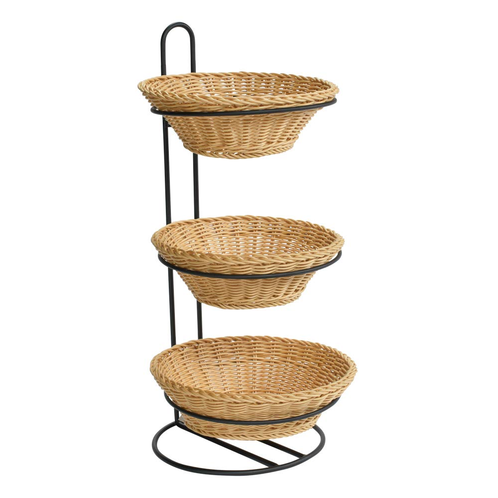 3 Tier Plastic Wicker Baskets Indianapolis Mall Display Stand x 24.7 12 12.5 D W Inexpensive