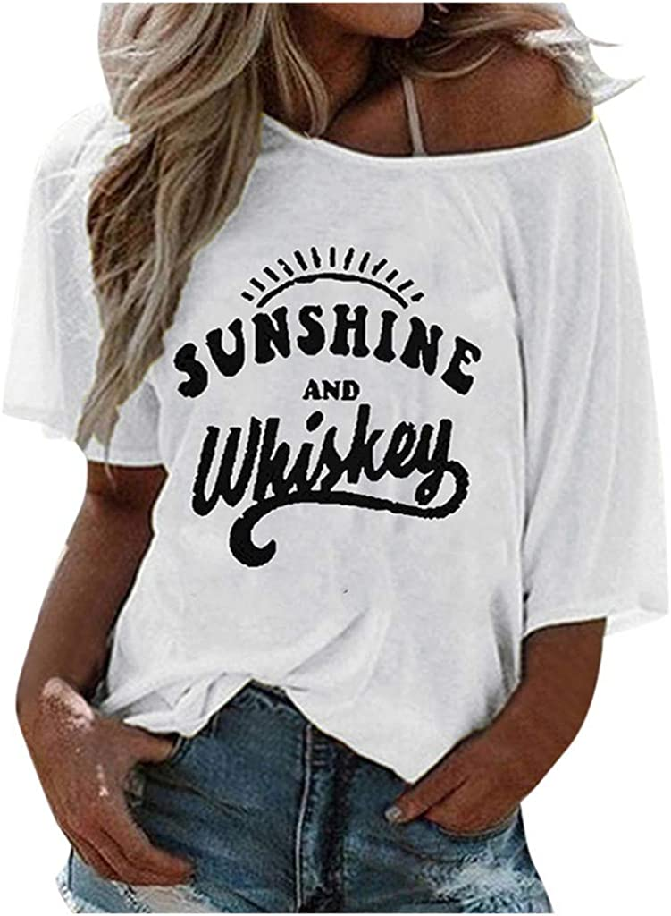 ORT Womens Casual V-Neck T-Shirt Short Sleeve Letter Printed Blouse Tops Loose Fit Round Neck Blouse