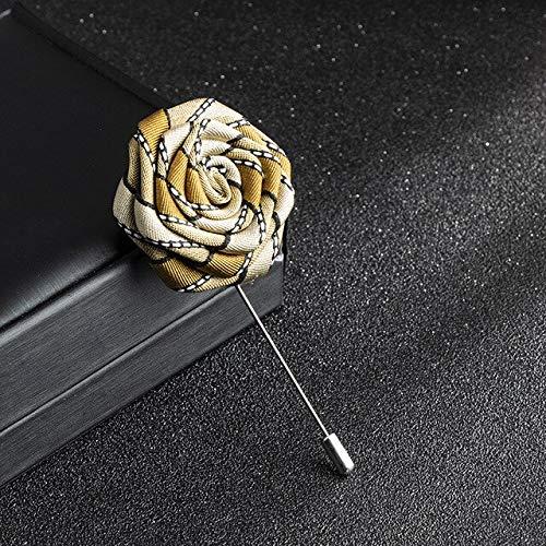 XZFCBH Handgemaakte Doek Art Rose Bloem Broche Lint Lange Naald Lapel Pin Pin Shirt Corsage Bruiloft Kraag voor Mannen Accessoires