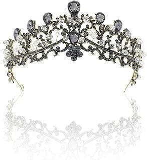 Foret Blanc Dor/é Shallow Diad/ème Cheveux Couronne de mariage Baroque Cristal Exquis Strass Tiara Couronnes De Mari/ée Couronnes Bijoux Bijoux Accessoire De Cheveux De Mari/ée