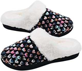 Knit-Womens-Slippers-Memory-Foam Furry, Faux Fur Lining Womens Slippers Indoor Outdoor, Fluffy Women House Slippers with Non-Slip Rubber Sole Arch Support