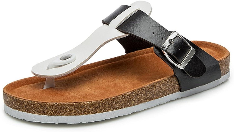 CYBLING Women's T-Strap Thong Sandals Flip-Flop Beach Casual Chunky Flat Heel Slipper shoes